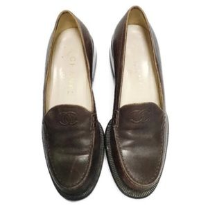 Chanel CC Leather Loafers Size 36.5/6.5 US